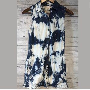 Mimi chica acid wash denim dress size xs distress